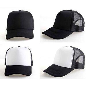Summer Plain Trucker Mesh Hat Snapback Blank Baseball Cap Adjustable ... f9159d27438