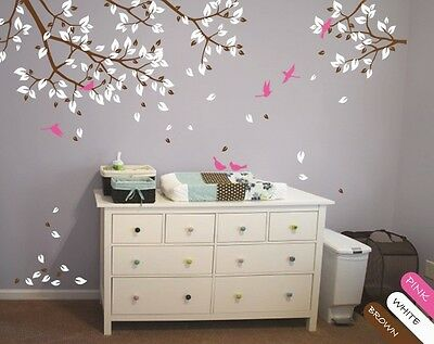 Nursery Wall Decal Mural Branch with Leaves and Cute Birds, Stickers - KR048_2