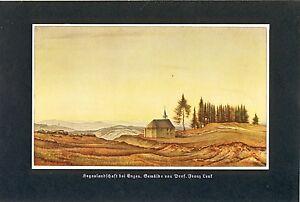Hegau bei Engen Kunstdruck von 1936 Franz Lenk Langenbernsdorf Kirche Berge