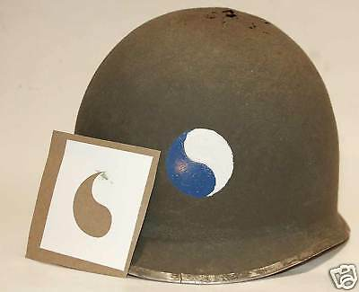 M1 Casque stencil USA 29th Infantry Division WW2 WWII Decal transfert Ying Yang
