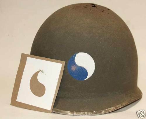 M1 Helmet Stencil USA 29th Infantry Division WW2 WWII Decal Transfer Ying Yang