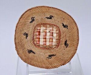 "Makah Flat Trivit Basket basket with Ducks  c. 1910; 5 3/4"" x 6"""