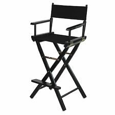 Directors Chair 30 In Canvas Tall Seat Wood Folding Hair Stylist Portable  Black