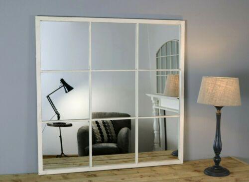 "Brooklyn White Square Metal Industrial Window Mirror 36/"" x 36/"" 90cm x 90cm"