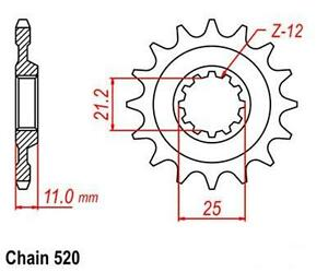 KR-Ritzel-12Z-Teilung-520-HUSQVARNA-WR-250-WR-300-NEU-front-sprocket