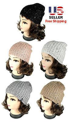 Women Fashion Warm Winter Knit Crochet Beret Braided Shinny Sequins Beanie Hat