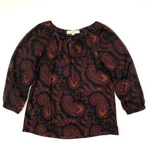 Ann taylor loft paisley print 3/4 sleeve peasant blouse blue red size xsp petite