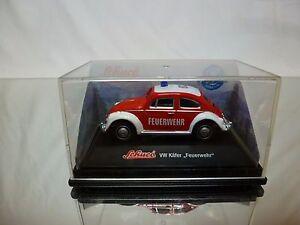 SCHUCO-JUNIOR-VW-VOLKSWAGEN-BEETLE-FIRE-ENGINE-FEUERWEHR-1-60-GOOD-IN-BOX