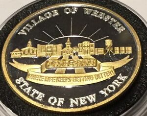 Gold Gilded Village Of Webster New York 1 Troy Oz .999 Fine Silver Ag Round Coin