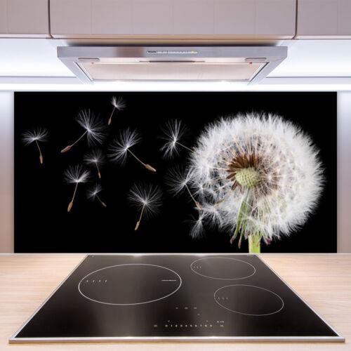 Fond de panier de cuisine en verre 100x50cm ESG anti-projections Pusteblume Plantes