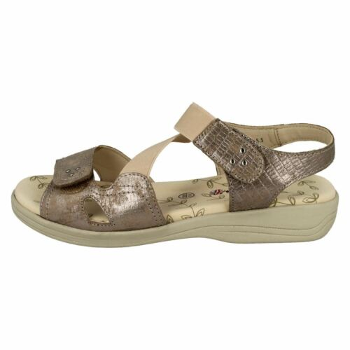 Comfort casual Extra Leather metallico Padders Ladies Rettile Cruise Dimensione Wide Sandali Elasticated HYI84xq