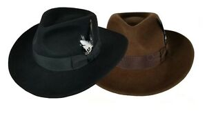 c813c7a0a5c Men s 100% Crush-able Wool Felt Indiana Jones Cowboy Outback Western ...
