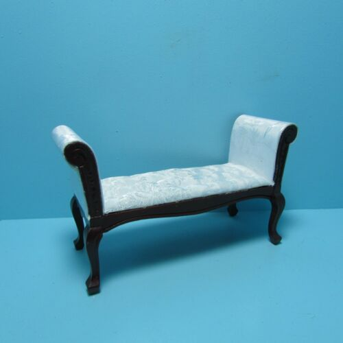 Dollhouse Miniature Living Room Settee White Satin Fabric in Mahogany ~ CLA10941