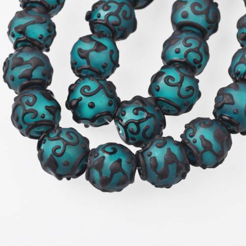 5pcs Rétro 18 mm Ronde Bleu Canard terne lampwork verre Handmade loose Craft Perle