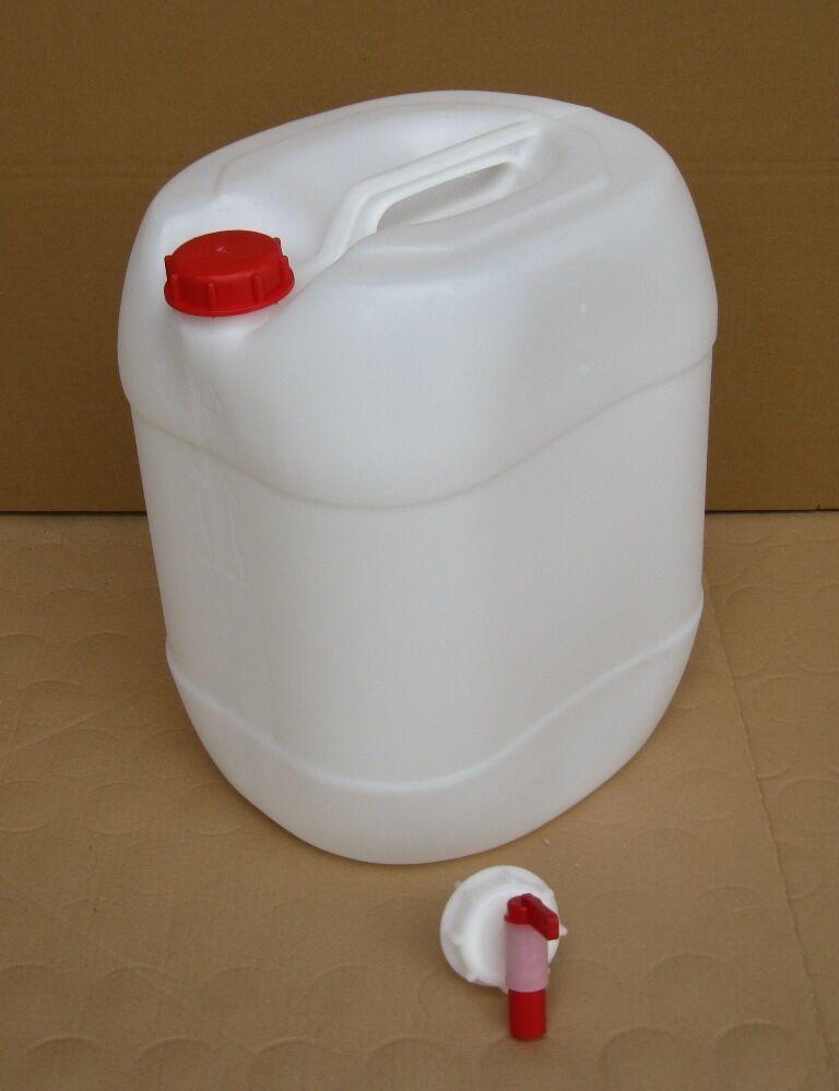 30 L Kanister weiß gebraucht mit Auslaufhahn AFT-Hahn Wasserkanister  | Trendy
