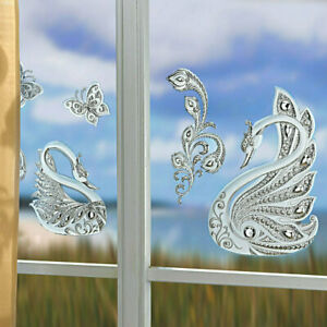 4-teilig-Fensterbilder-Schwaene-3D-Optik-selbstklebend-Fensterbild-Schwan-Glanz