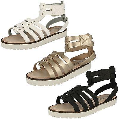 Mädchen H0131 schwarz & weiß Gladiator Sandalen von Spot on Einzelhandel Preis