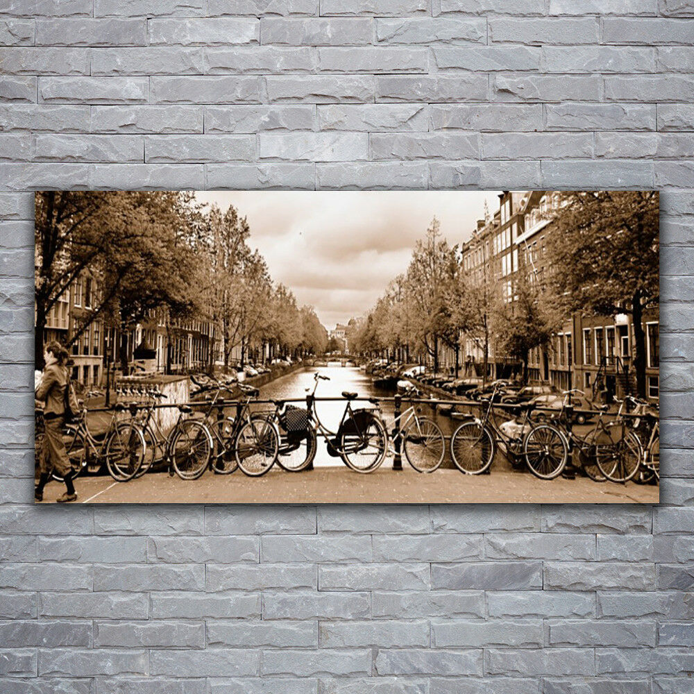 Photo sur toile Tableau Image Impression 120x60 Paysage Rivière Vélos Arbres