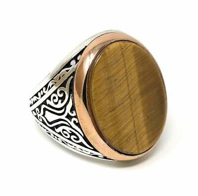 Details about  /925 Sterling Silver Natural Certified 10 Ct Tigers Eye Valentines Day Mens Ring