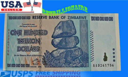 100 TRILLION ZIMBABWE DOLLARS UNCirculated CURRENCY BILLION Million 5 10 20 50