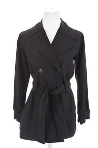 Barami Womens Black Double Breasted Belted Trench Coat Jacket Lightweight Sz S
