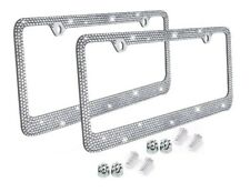 Metal License Plate Frame Bling Rhinestone Chrome Crystal Diamond Glitter 2pc D