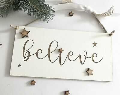 Believe Christmas Home Decoration  Plaque Sign Wall Hanging LEB7583