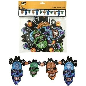 1-8-Metre-Hanging-Halloween-Zombie-Head-Paper-Banner-Bunting-Party-Decoration