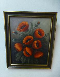 Original-Gemaelde-034-Mohnblumen-034-Ol-auf-Leinwand-sehr-schoener-Zustand