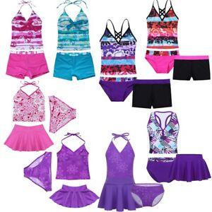 Girls-Kids-Tankini-Set-Swimwear-Bikini-Skirt-Swimsuit-Swimming-Costume-Age-2-16Y