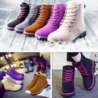 Women Lace Up Ankle Boots Fur Winter Warm Thicken Shoes Snow Boots Martin Boots