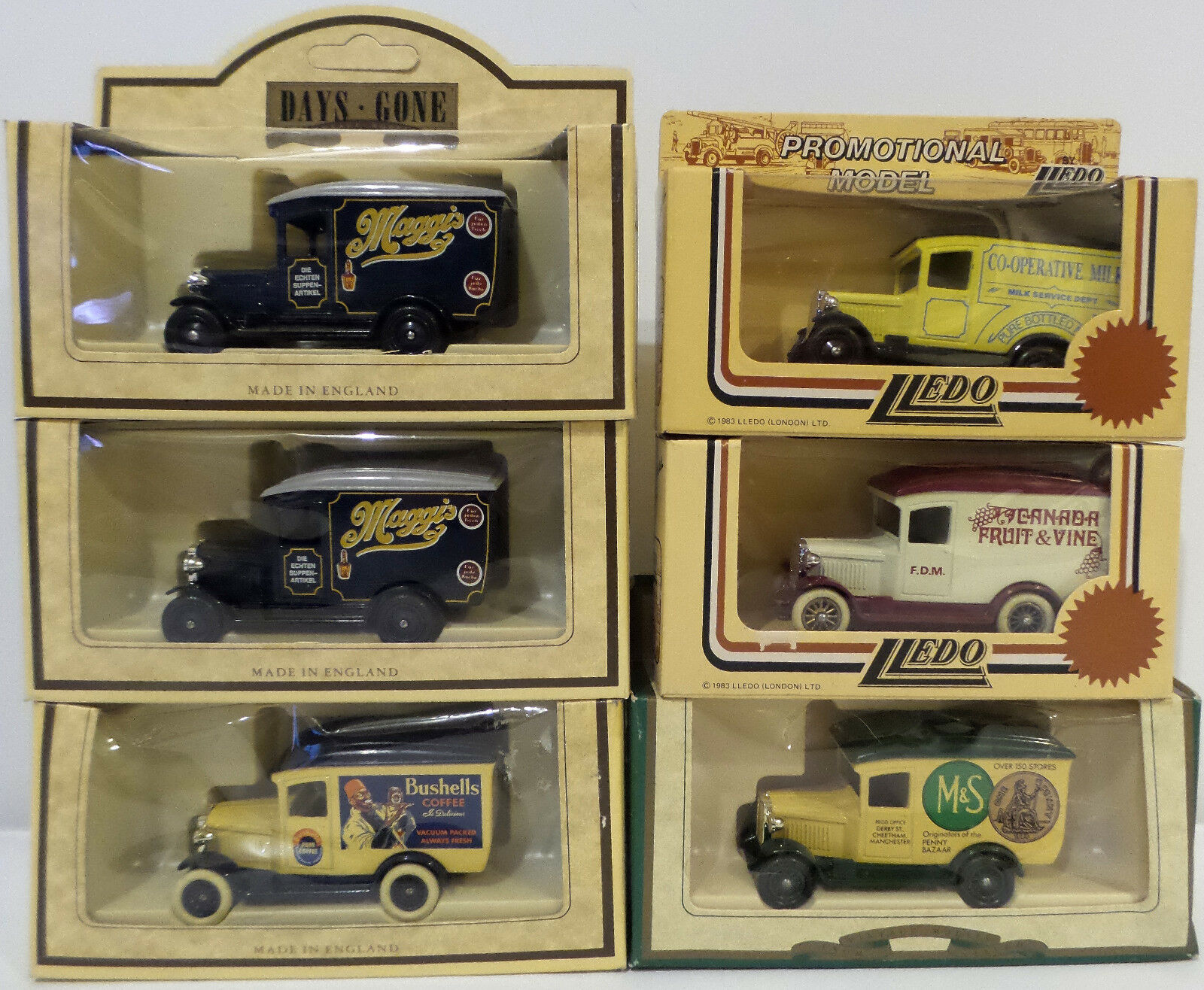 VEHICLES   SET OF 6 1934 CHEVROLET DELIVERY VANS MADE BY LLEDO (DT) 143