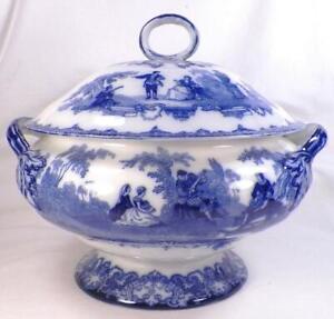 Royal-Doulton-Watteau-Flow-Blue-Soup-Tureen-Antique-Magnificent-A-Rare-Beauty