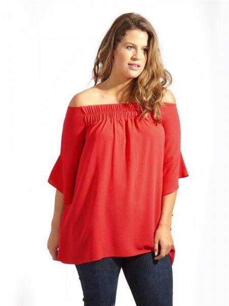 d61bd0cf2b3de 8  Lovedrobe GB Red Bardot Blouse With Asymmetrical Draped Frill  Sleeves