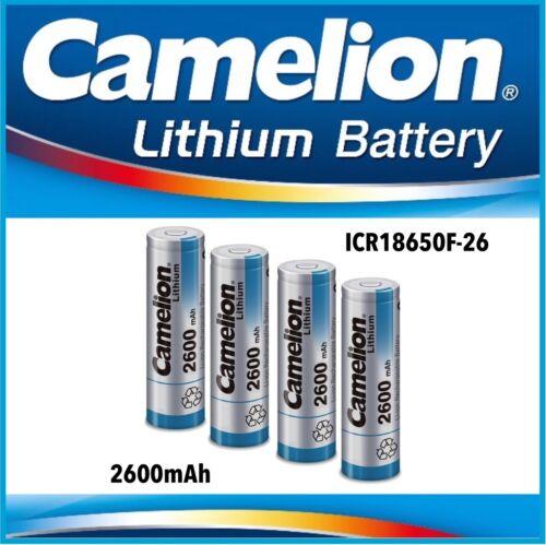 4x Camelion Lithium-Ion Batterie ICR 18650 f-26 Flat//3,7 V//2600 mAh