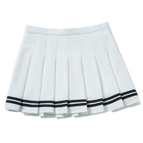 Women Girl High Waist Plain Tennis Skater Flared Pleated Short Mini Skirt Shorts