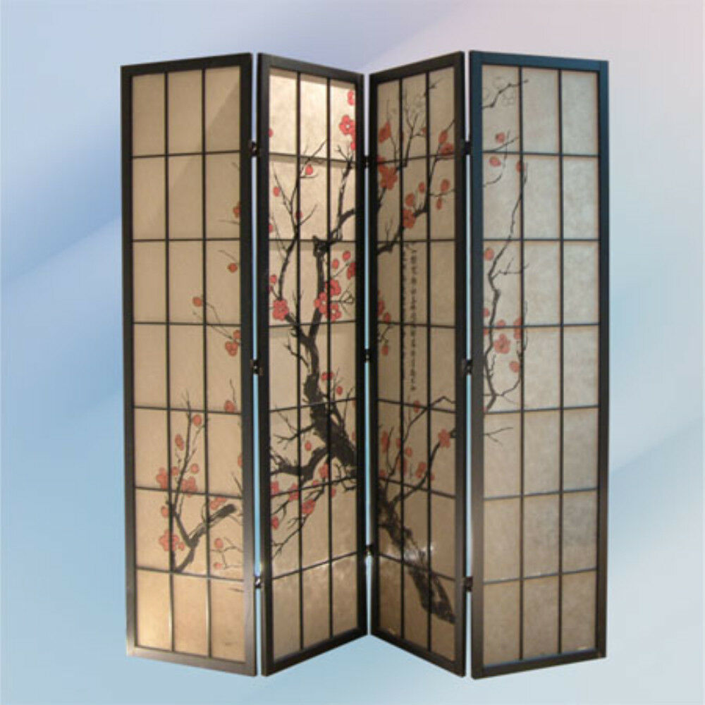 Brand New70-3 8''H 4-panel PAPER Screen with PLUM BLOSSOM room divider- ASDI