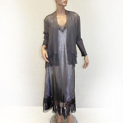 NEW NWOT Komarov Woman Nordstrom Plus Size Pleated Beaded Gray Dress 2 pc  Set 1X | eBay