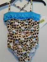 Hello Kitty One Piece Leopard Swimsuit W/ Turquoise Ruffles, Sz 2 Toddler