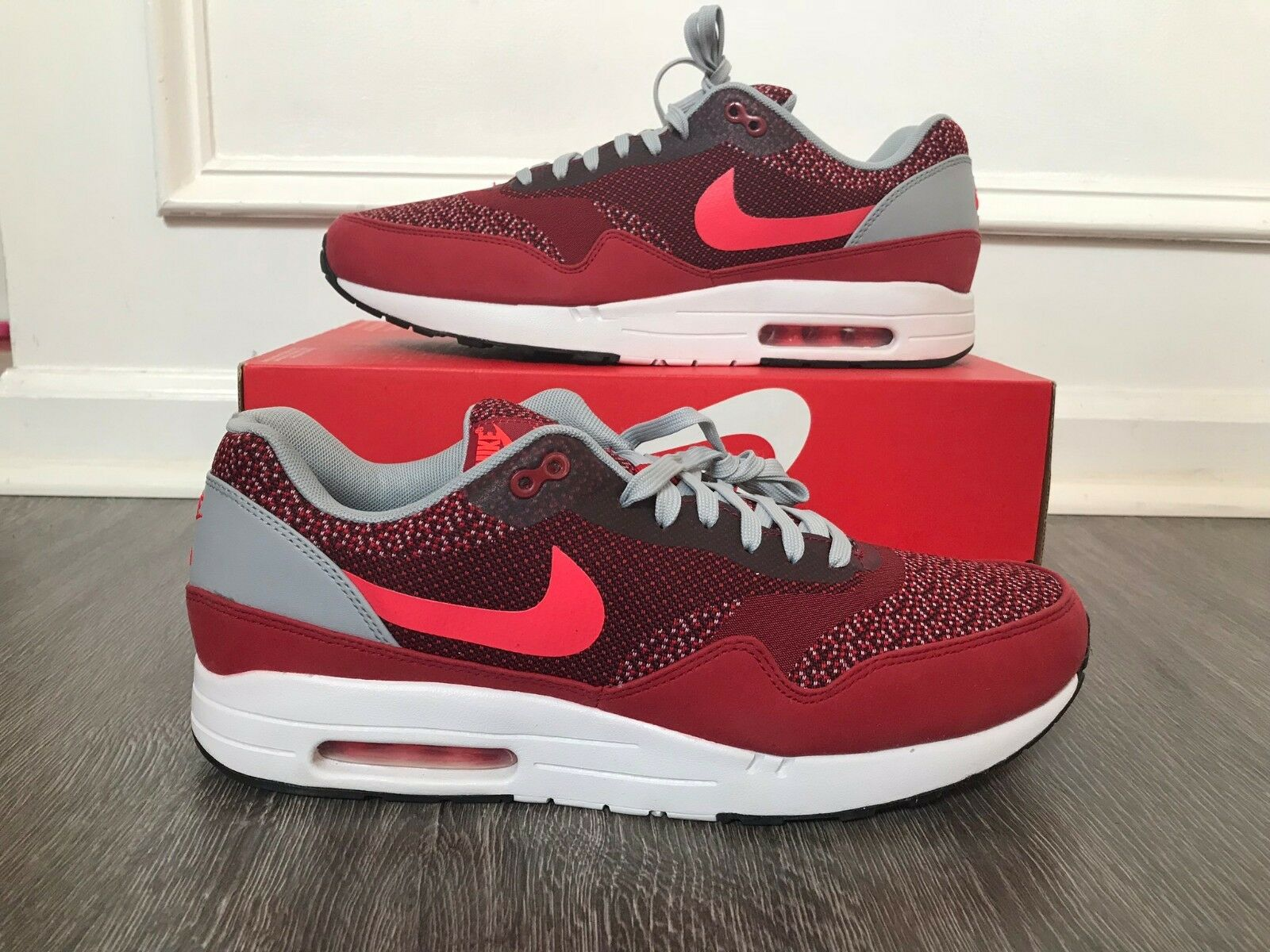 Nike Air Max 1 JCRD Jacquard Gym Red Laser Crimson 644153 600 Size 11.5 NEW