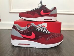 low priced a5c33 f7481 Image is loading Nike-Air-Max-1-JCRD-Jacquard-Gym-Red-