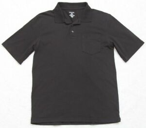 George-Pocket-Polo-Shirt-Black-Small-Solid-Cotton-Polyester-Top-Short-Sleeve