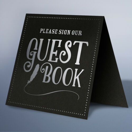 Wedding Table Top Guest Book Sign Vintage Gold Silver Metallic Foil Card Print