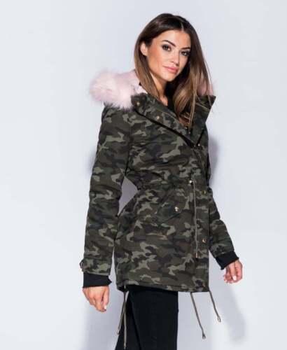 6 Girls Faux Size Coat Fur Trim Uk Pink Parka Jacket Camouflage Khaki Ladies 14 7HZwWqURdR