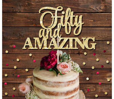 Surprising 50 And Amazing Glitter Cake Topper 30Th 40Th 50Th Birthday Cake Personalised Birthday Cards Bromeletsinfo