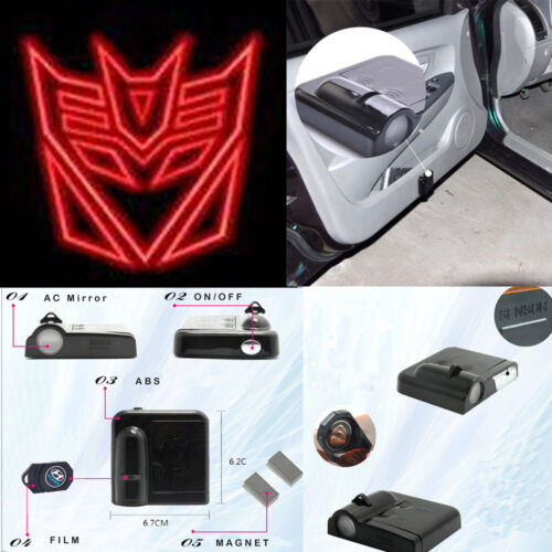 Car Decepticon Transformers Outline Red Door LED Shadow Light Wireless DL446