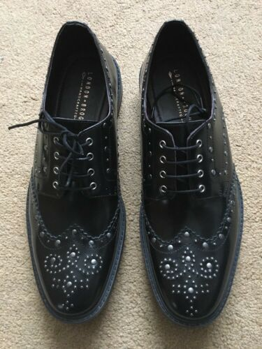 Polished Derby Uk10 Eu44 £110 Brogues Studded London nero Brut Shoe Leather wXOqw8E