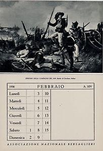 Calendario 1936.Dettagli Su Bersaglieri Episodio Campagna 1859 C Del Calendario 1936 E Con Omaggio