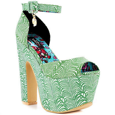 IRON FIST LADIES ISLAND VIBE SUPER PLATFORM HEEL SHOES IN GREEN ALL SIZES (R7A)