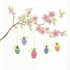 PAPYRUS Asian Pink Cherry Blossoms Flowers Tree GOLD SHEEN LARGE BLANK NOTE CARD